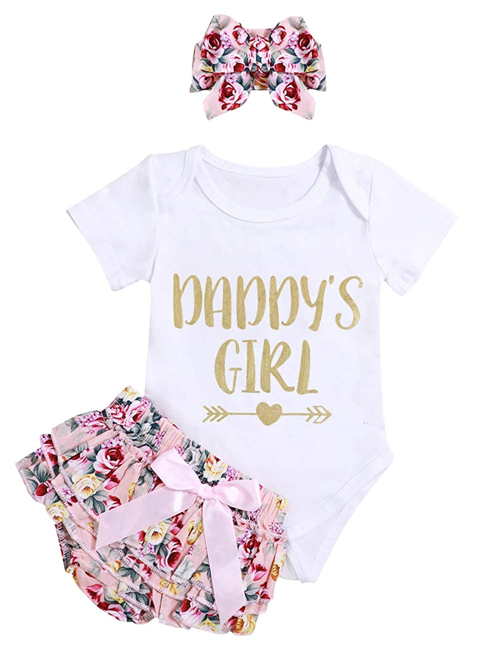 0895838a2 Amazon.com  Infant Baby Girl Clothes Daddy s Girl Letter Print ...