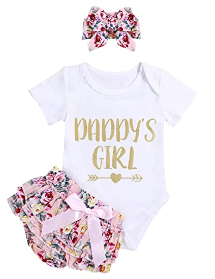 Infant Baby Girl Clothes Daddy s Girl Letter Print Romper Floral Bloomers  with Headband 3PCs Toddler Outfits 3550f2b2e02a