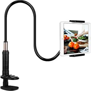 """Gooseneck Tablet Phone Holder,PEYOU Flexible Long Arm Lazy Cellphone Tablet Clamp Desk Bed Stand Compatible for iPad iPhone Samsung Galaxy Tablets Kindle Nintendo Switch 4""""-12.9"""",41.3in Overall Length"""