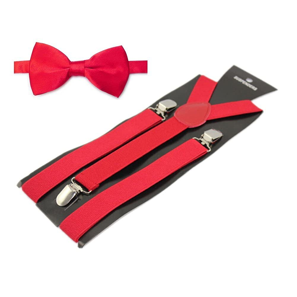 Mens Solid Color Pre-tied Adjustable Bowtie Y-Back Clip Suspenders Set for Wedding Red