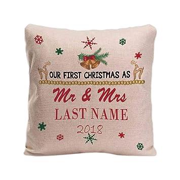 Amazon.com: cafetime personalizado Navidad lino almohada ...