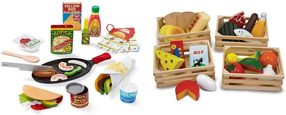 Melissa & Doug Fill & Fold Taco & Tortilla Set (Play Food, Best for 3, 4, 5 Year Olds and Up) & Food Groups - Wooden Play Food, The Original (Pretend Play, Kids Toy Best for 3, 4, 5, and 6 Year Olds)