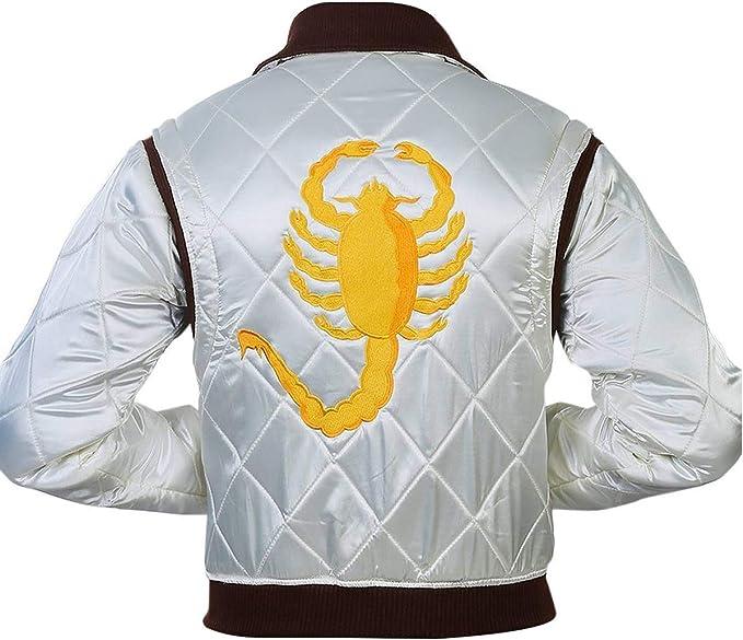Spazeup Mens Scorpion Logo Drive Satin Bomber Jacket