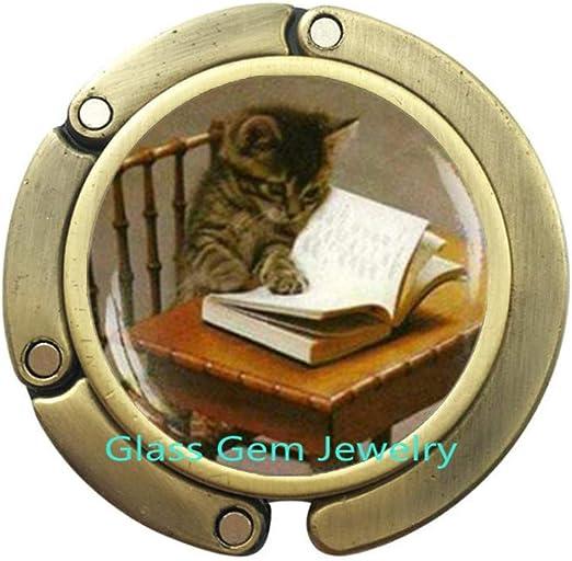 Gancho para libro de lectura de gatos, bolsa de libro, gancho para gato, gancho para monedero, libro para amante, libros, joyas, regalo para profesor escritor, regalo bibliófilo, Q0089: Amazon.es: Hogar
