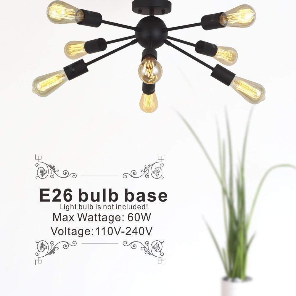 Sputnik Chandelier Black Mid Century Modern Pendant Lighting Fixture Vintage Industrial Ceiling Lamp 8- Lights L
