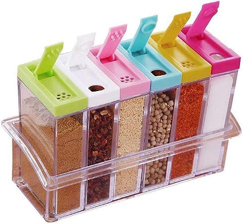Eizurs Set de Cocina Caja Plástico Especias Caja Condimentos Caja Almacenamiento Contenedor Transparente Utilizado para de Suministros de Cocina 6 pcs/Set: Amazon.es: Hogar