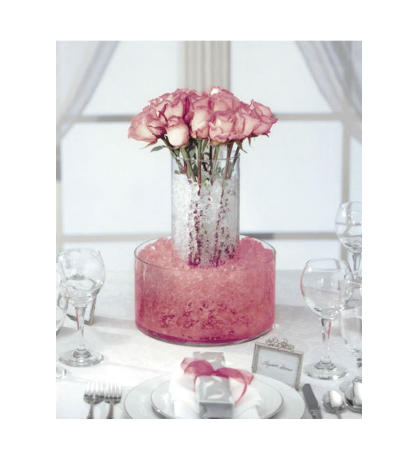 10pk of 14 Gram Packs Each - Crystal Accents Cracked Ice Vase Filler- Use for Weddings, Parties, Events, & Everyday Florals & Decorations (Crystal Rose)