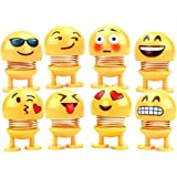 8 Pcs Cute Emoji Shaking Head Dolls Bobble Head Toys Action Figures Bounce Toys for Car Dashboard/Home/Table Decor