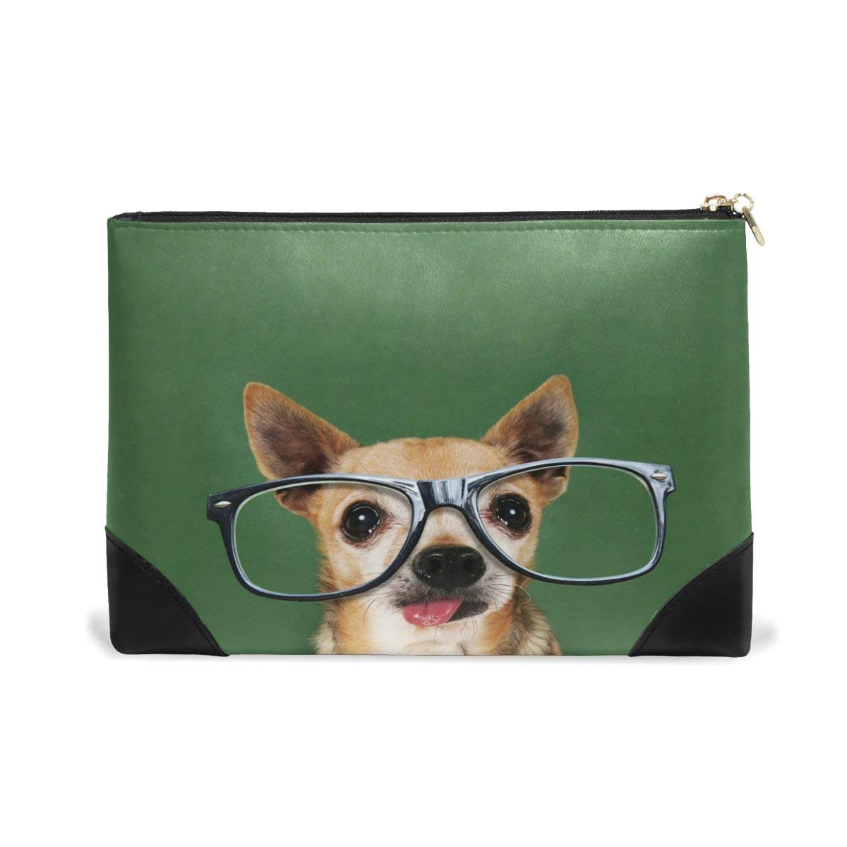 BLEFE Cool Chihuahua Puppy Dog Face with Glasses Makeup Cosmetic Bag Pouch Travel Bag for Women Girls