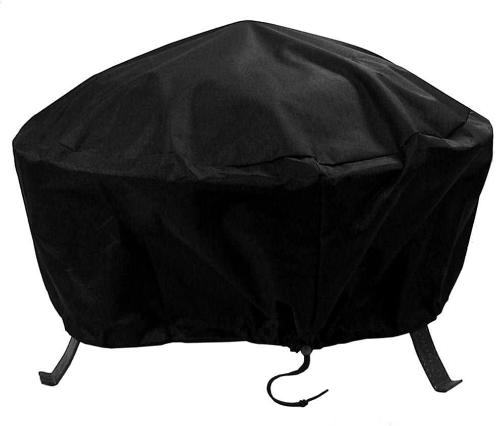 Sunnydaze Outdoor Round Fire Pit Cover with Drawstring and Toggle Closure - Heavy Duty Weather-Resistant Black 300D Polyester and PVC - 36 Inch Diameter Protective Fire Pit Accessory