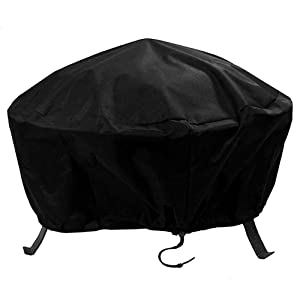 Sunnydaze Outdoor Round Fire Pit Cover, Heavy Duty 300D Polyester, Weather Resistant and Waterproof PVC Material, Black, 30 Inch