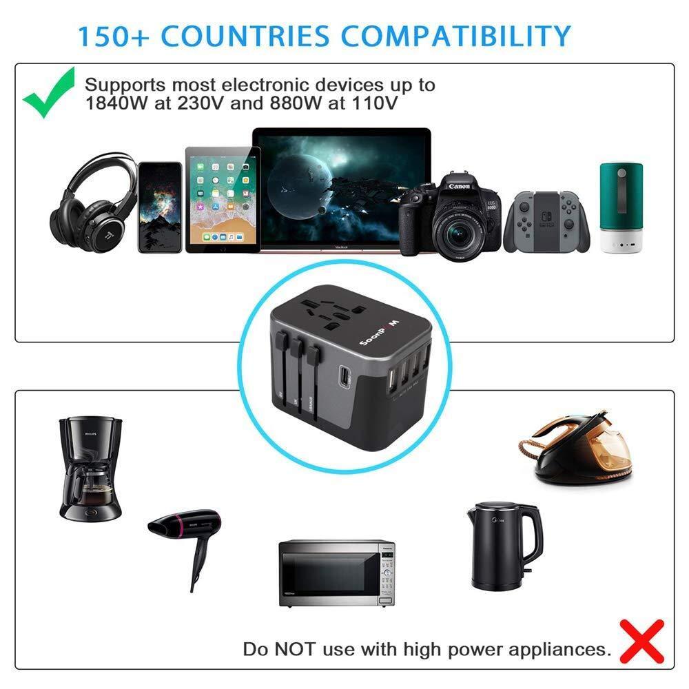 und 1 AC-Buchse f/ür 150 L/änder Universal-Reiseadapter Weltweiter Steckeradapter Internationaler Reisestecker-Konverter Netzteil mit 4 USB-Anschl/üssen 1 Typ C