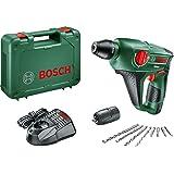 Bosch DIY Akku-Bohrhammer Uneo, Akku, Ladegerät, Rundschaftadapter, 2 SDS-Quick Betonbohrer, 2 Hex-Schaft Bohrer, 4 Bits, Koffer (12 V, 2,5 Ah, 10 mm Bohr-Ø Beton)
