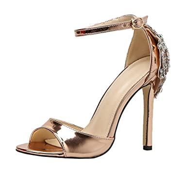 a3e089f31f Lolittas Women Rose Gold Diamante Sandals Court Shoes Size 2-8,Sparkly  Bling High Stiletto Heel Slingback Peep Toe Lace up Court Shoes: Amazon.co. uk: ...