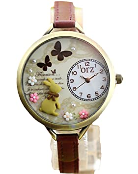 Reloj de pulsera de cuarzo del kawaii de la muchacha con el conejo, mariposa