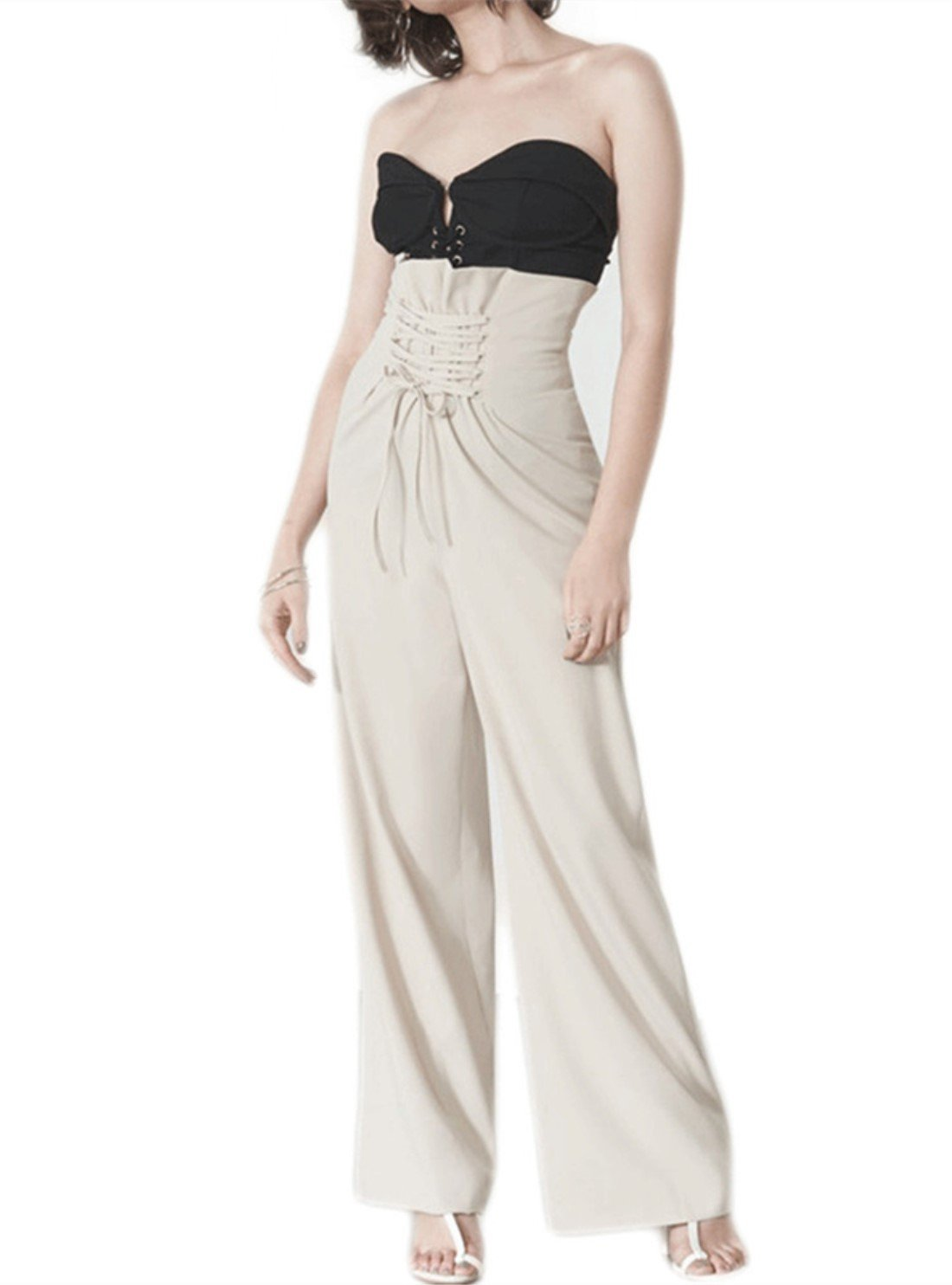 Womens Palazzo High Waist Stretch Pants OL Lace Up Corset Wide Leg Trousers Slim Fit (XL, Beige)