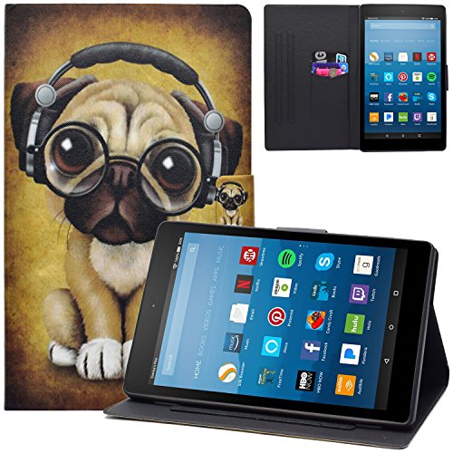 Dteck Case for Fire HD 8 Tablet 2018/2017/2016, Slim Lightweight PU Leather Magnetic Nice Cute Flip Smart Stand Pocket Case Cover for All-New Kindle Fire HD 8 8.0 Inch 8th 7th 6th Generation-Music Dog (Kindle Fire Dog Case)