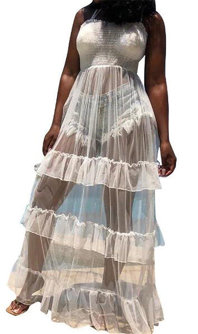 Nanquan-women clothes NQ Women Fashion Spaghetti Strap Flowy Ruffle Men See Through Maxi Dress