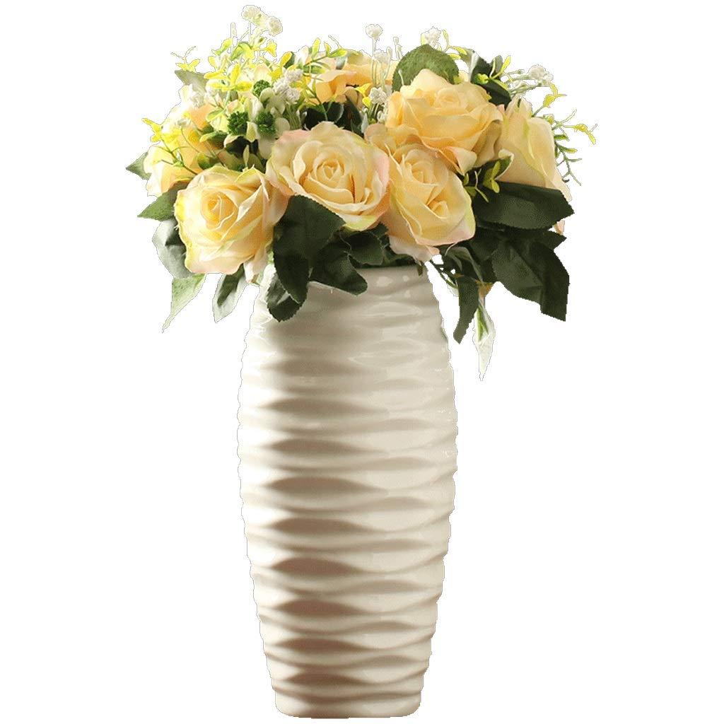 円柱装飾花瓶 HJCA高品質セラミック素材花瓶ヨーロッパ現代のミニマリストのリビングルームのテーブル家の装飾クリエイティブホームドライフラワーフラワーアレンジメントデスクトップの装飾サイズ:高28 CM *直径14 CM(白) 写真円柱装飾花瓶ライフ花瓶フラワーショップブーケボックス B07S7JM7WX