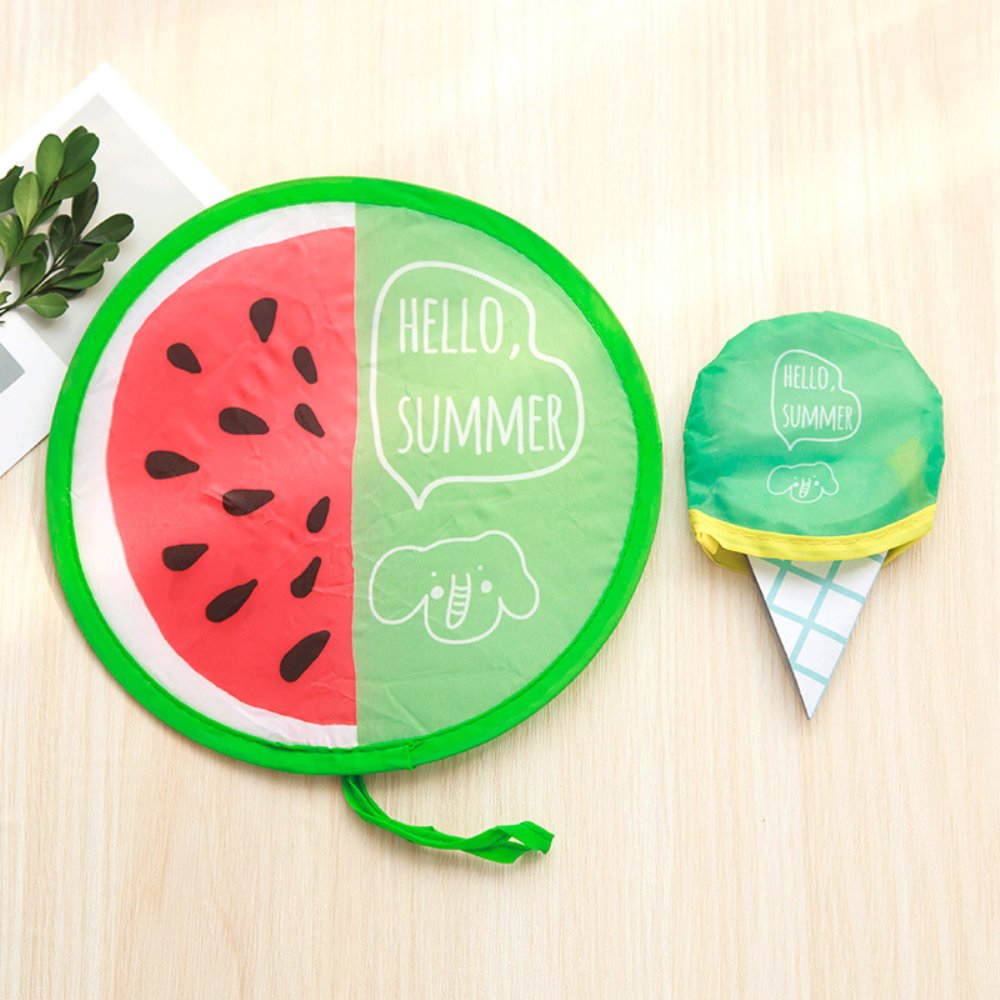 ANYIKE Hanging Folding Portable Cartoon Hand Fan Summer Nylon Round Shape Mini Fan