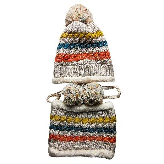 ... wide range 259d8 d665d Honhui Womens Fashion Bulky Cable Knitted Pom  Pom Beanie Hat Earflap Caps ... 9bb5bde951e4