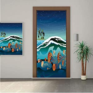 Ylljy00 Jellyfish Decor Premium Stickers for Door/Wall/Fridge Home DecorJellyfish in The Sea and Coconut Island Trees Waves Under Starry Night Sky 30x80 ONE Piece Sticky Mural,Decal,Cover,Skin