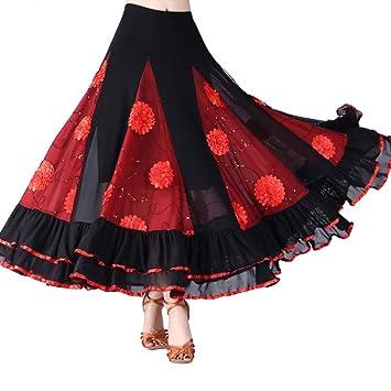 Falda de Baile Latino para Mujer, con Lentejuelas y Flores con ...