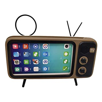 Goshfun PTH800 Retro TV Bluetooth Wireless Speaker Phone Holder Black Desktop Mobile Phone Stand for iPhone with 4.7-5.5 inch Screen Table Cell Phone Accessories