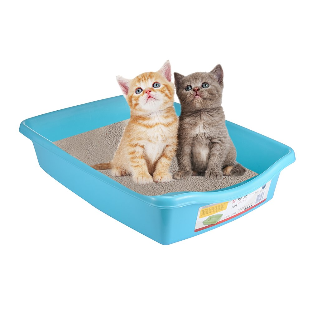 Cat Litter Tray, Yunt Blue Open Type Smooth Cat Litter Tray Litter Boxes With Gaps S