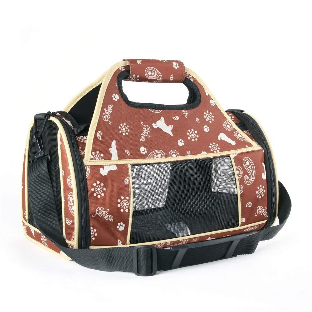 Brown Pet Handbag Portable Foldable Shoulder Bag Hiking Bag For Outdoor Travel (color   Brown)