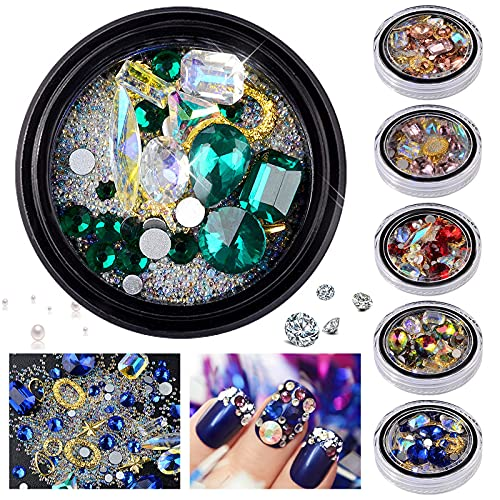 Nail Art Rhinestones-Diamonds Glass Crystals Beads Mixed Colorful For Nail Art,Nail Art,Decorations DIY Design Easy For Starter (1pc-A)