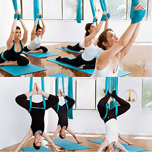 Agptek Aerial Yoga Supplies Swing Inversion Trapeze Series Yoga Class Accessories Like Yoga Straps and Sling Hammock (Blue) by AGPTEK (Image #3)