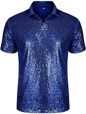 Camisa Polo de Lentejuelas Brillantes para Hombres Traje de Verano para Noches Disco: Amazon.es: Ropa y accesorios