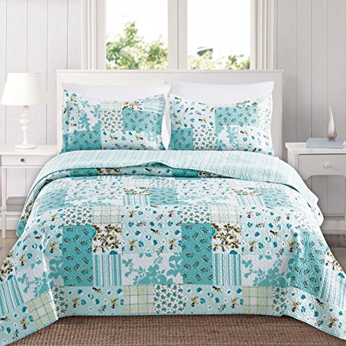 Home Fashion Designs 3-Piece Reversible Quilt Set with Shams. All-Season Bedspread with Patchwork Pattern. Aurelia Collection Brand. (King, Multi)