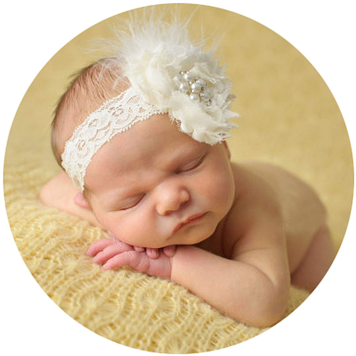Baby Newborn Toddler Girls Feather Headband Head Wear Photography Prop 5 colors
