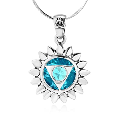 Amazon 925 sterling silver blue glass vishuddha throat chakra 925 sterling silver blue glass vishuddha throat chakra healing pendant necklace 18 inches aloadofball Gallery