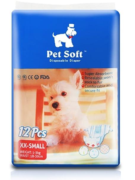 Amazoncom Pet Soft Pet Disposable Female Puppy Dog Diaper 12pcs