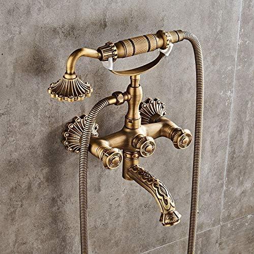 浴槽の蛇口 レトロウォールには、ハンドシャワー付きの浴室の蛇口バスタブの蛇口ホット&コールドシャワーをマウント 浴槽タップ (色 : Brass, Size : Free size)