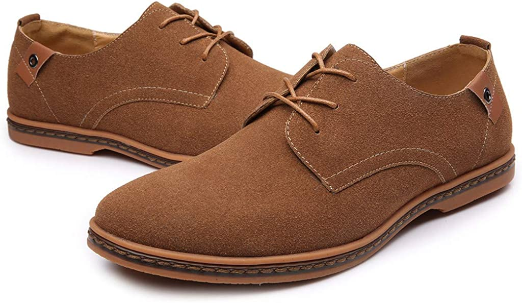 Mens Leather Shoes,Males Fashion Casual Slip-on and Lace-up Solid Deck Outdoor Oxford Leather Suede Shoes