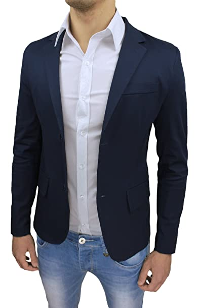 new product ee05b 7a710 Giacca Uomo Sartoriale Blu Scuro Slim Fit Super Aderente Elegante Casual  Estiva