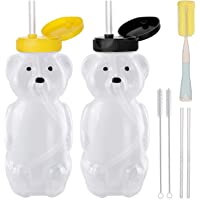 2 Pack Honey Bear Straw Cups with 4 Flexible Straws & Cleaning Tools(2 Straw Brushes &1 Bottle Brush), 8-Ounce Therapy…