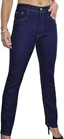Womens Slim Denim Mid Rise Skinny Jeans Smooth Wash Indigo Dark Blue 10-22