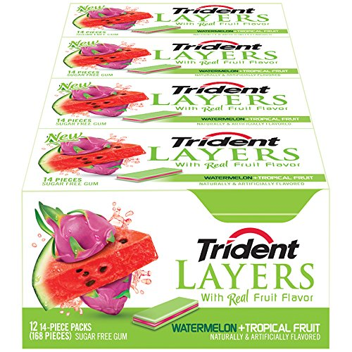 Trident Watermelon Tropical 14 Piece 12 Pack