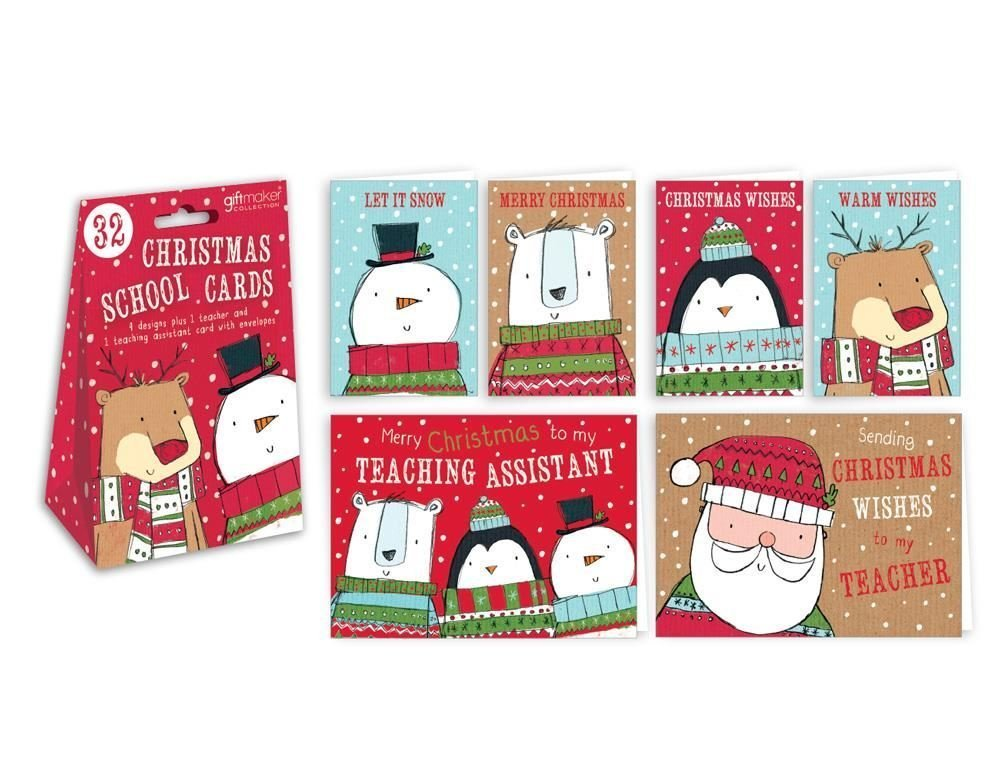 32 Christmas School Greeting Cards Cute Characters Teacher Gift Wishes Assistant Class Kids Children Festive Winter Nursery Concept4u
