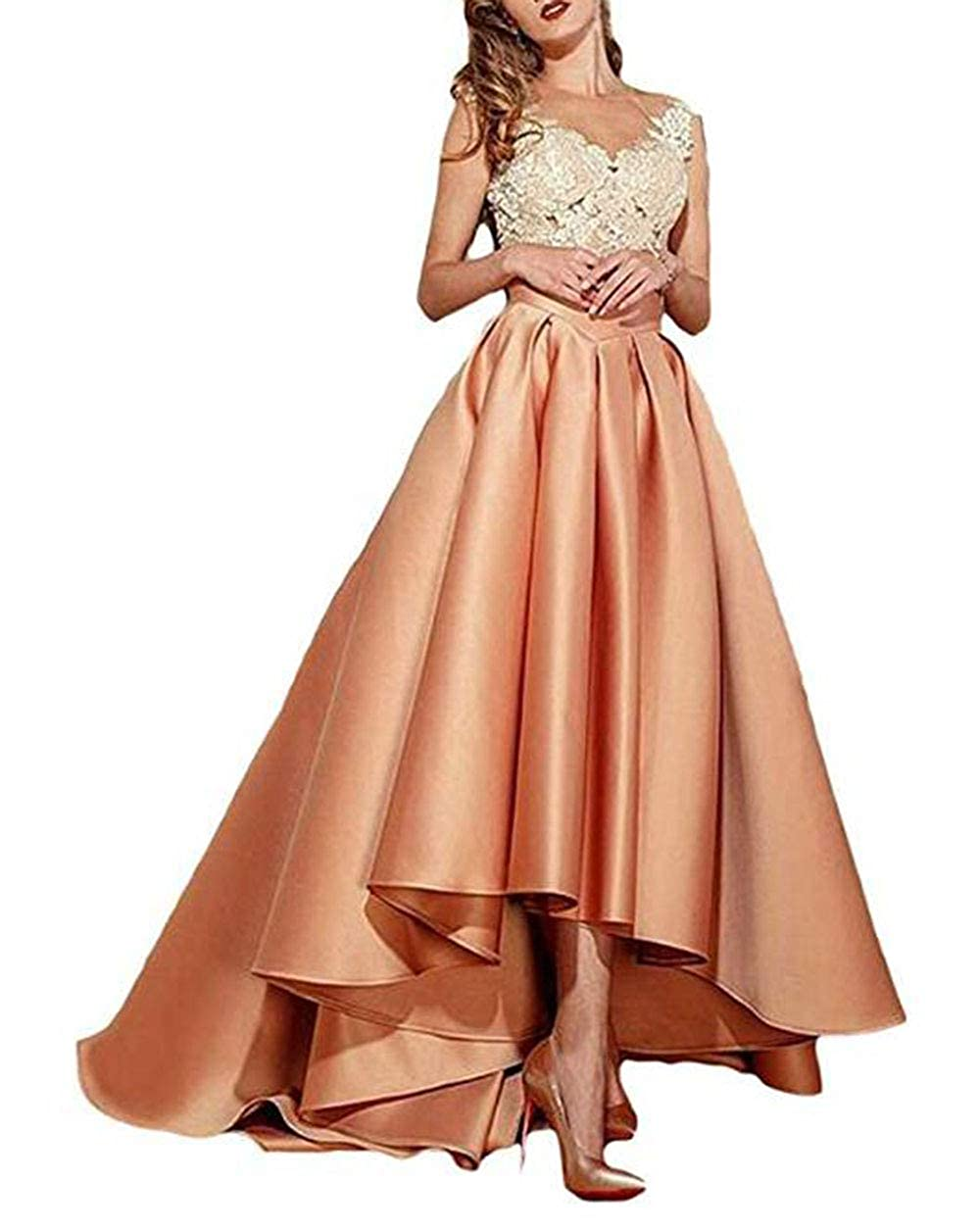 Peach alilith.Z Sexy Lace Appliques Prom Dresses High Low Formal Evening Dresses Party Gowns for Women