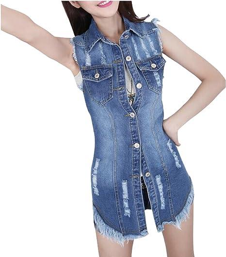 0ce98193303dcd SYTX Womens Summer Sleeveless Pokcet Front Ripped Cutoff Denim Jacket Coat  Dark Blue XXS