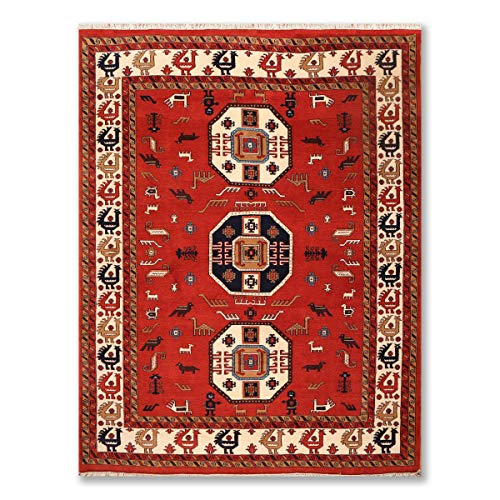 8'x10' Rust Ivory Midnight Blue, Brown, Tan, Multi Color Hand Knotted Persian Oriental Area Rug 100% Wool Traditional Meshkin Rug Design Oriental Rug