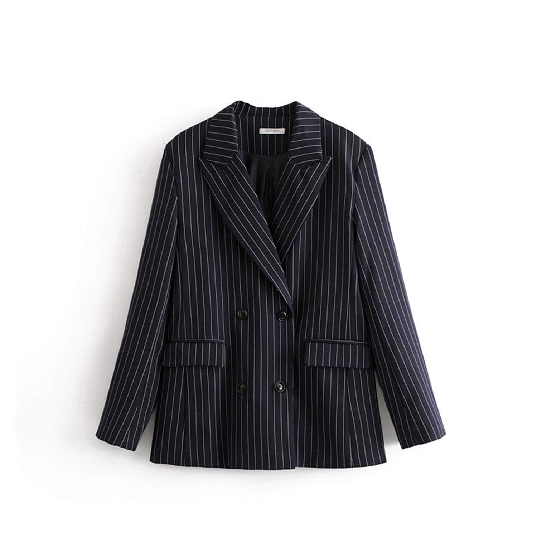 Navy Kongsta Striped Woman Blazers Jackets Formal Ladies Office Blazer Long Sleeve Jackets Button Coat