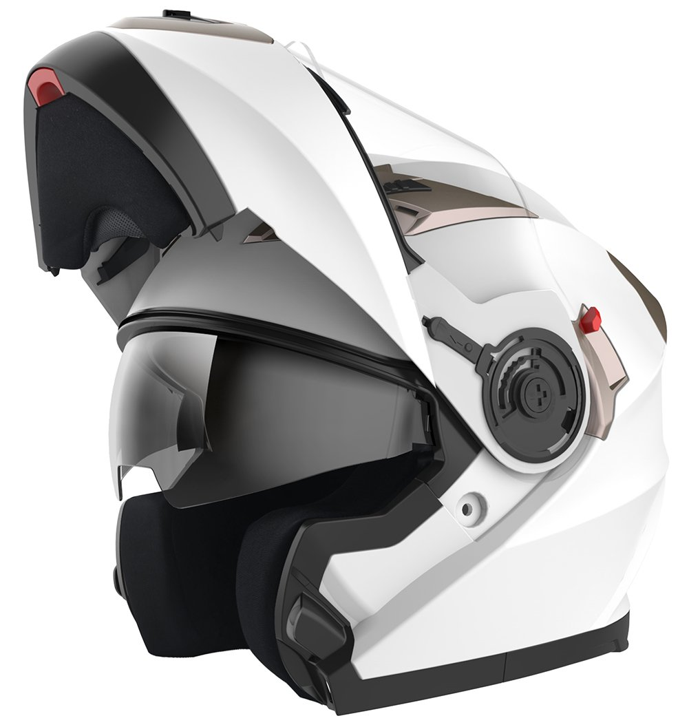 - White,Small YEMA YM-925 Full Face Racing Motorcycle Helmet with Sun Visor for Adult Men Women Not Included Bluetooth Friendly Motorbike Crash Modular Helmet ECE Approved
