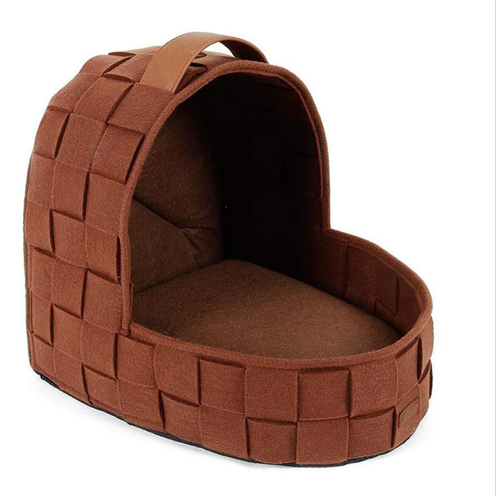 BROWN Pet Nest Cat Nest Woven Cat Bed House Dog House Washable Mattress (color   Brown)